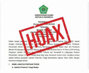 Kemenag Bantah Pengumuman Lelang Jabatan, Karo HDI: Itu Hoax