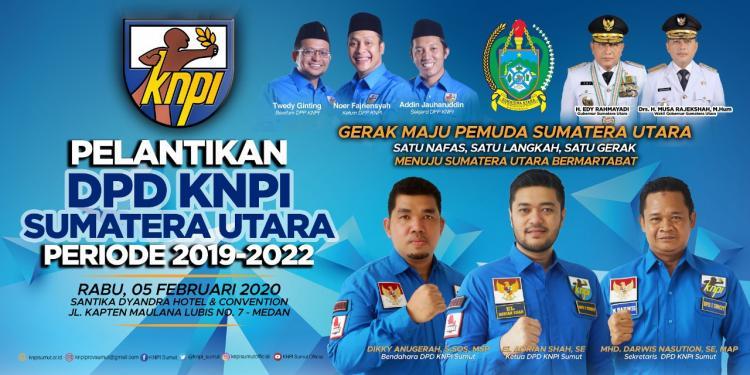Hari Ini, El Adrian Shah dan Pengurus KNPI Sumut Periode 2019-2022 Dilantik