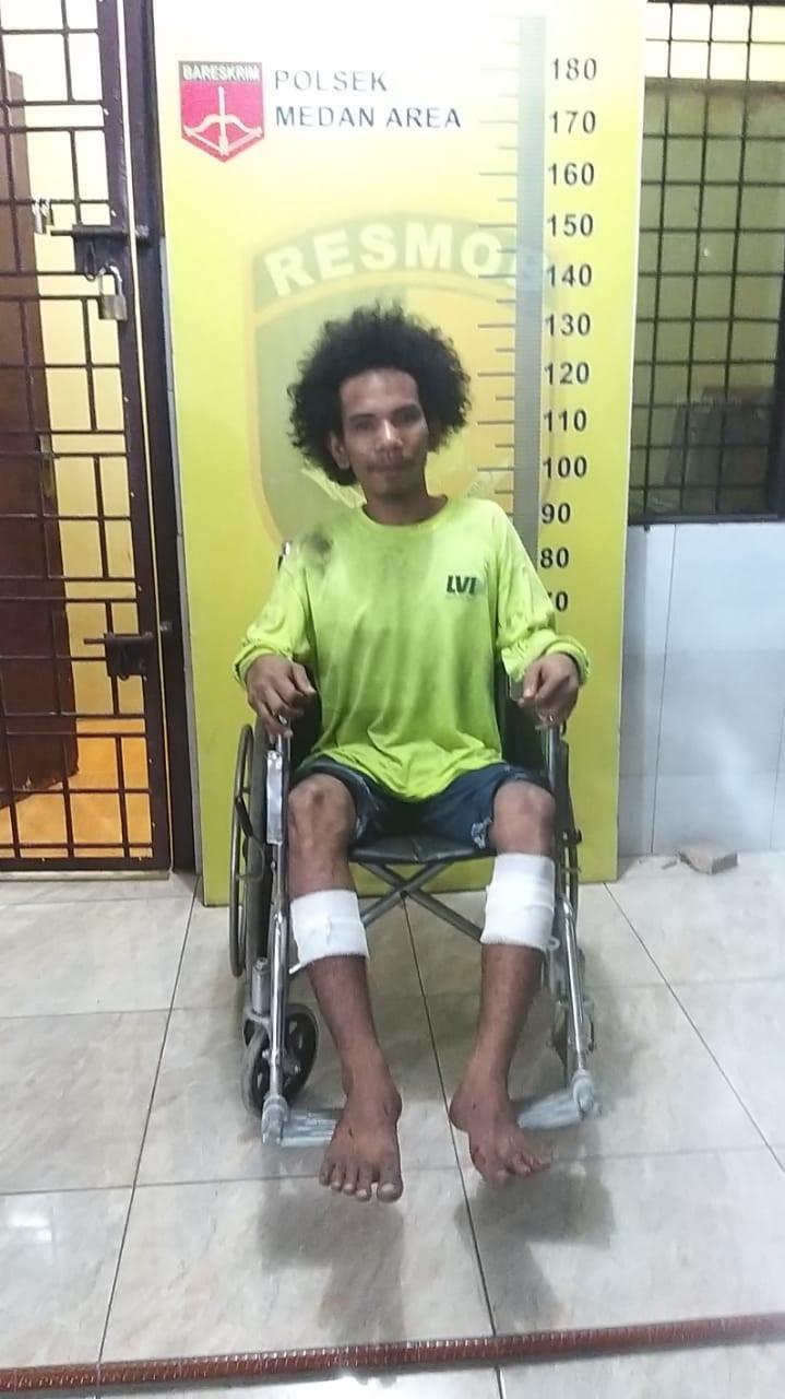 Terekam CCTV, Residivis Jambret Tumbang Ditembak Polisi