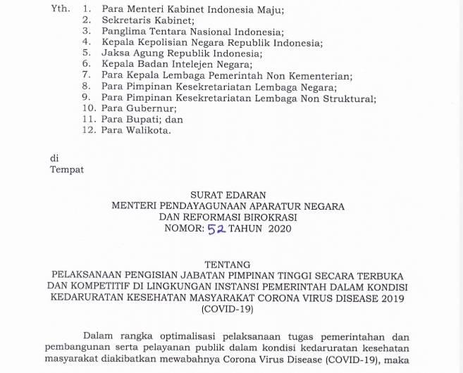 Pemerintah Lakukan Penyesuaian Pengisian Jabatan Pimpinan Tinggi di Masa Covid-19