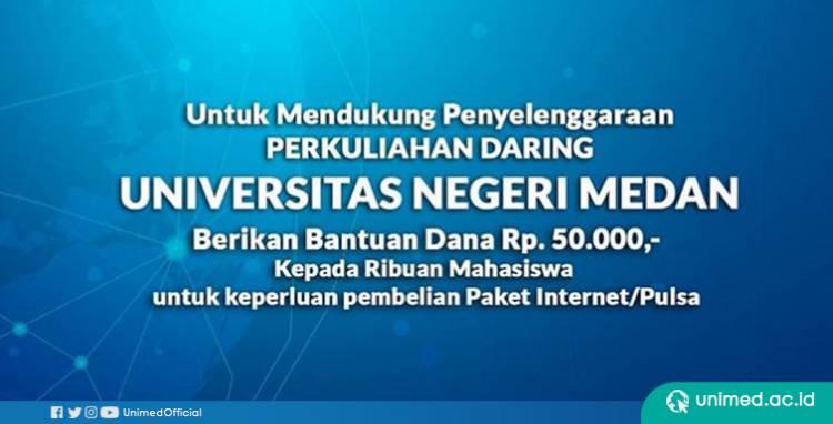 Unimed Beri Bantuan Hampir 1,2 Miliar untuk Mahasiswa Beli Paket Internet