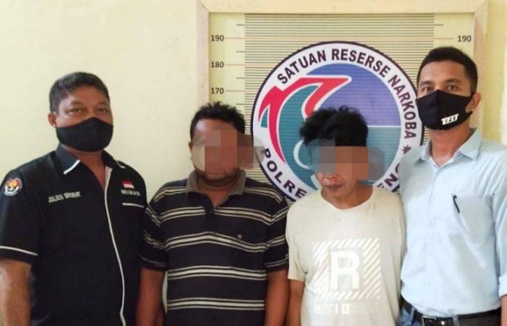 Bawa 1 Bal Ganja Kering, Dua DPO Narkoba Ditangkap Polres Tapteng di Aek Horsik