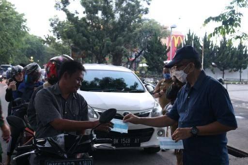 Tim Pemantauan dan Pecegahan Asmara Subuh Tertibkan Pengendara Yang Tidak Pakai Masker