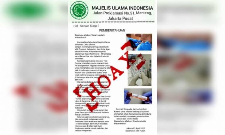 Hoaks, Viral Berita Libatkan Para Ulama, Kyai dan Ustad Tentang Rapid Test Covid-19
