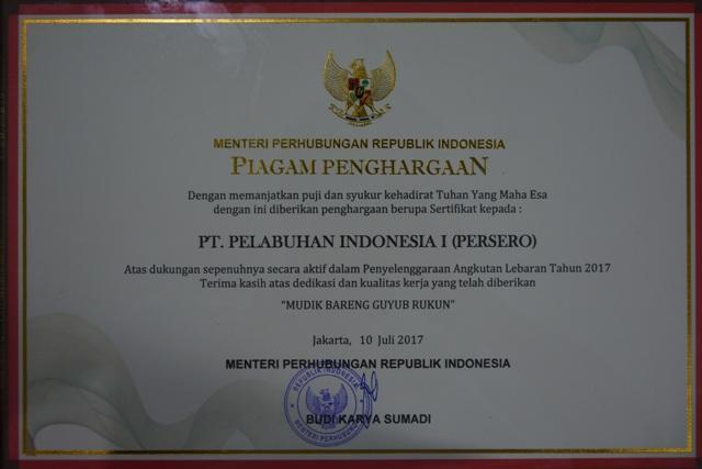 Pelindo I Raih Penghargaan dari Menteri Perhubungan