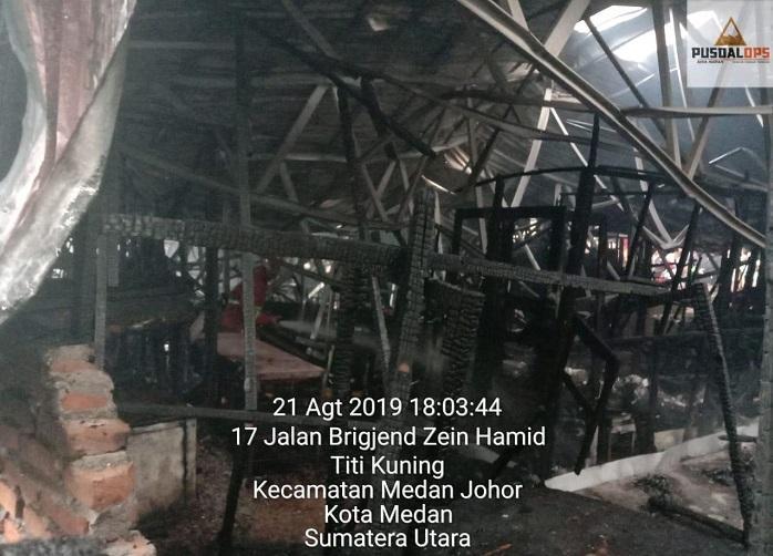Pasar Inpres Titi Kuning di Medan Kebakaran