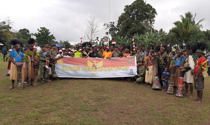 Dari Titik 0 Km Merauke, Satgas Yonif 411 Kostrad Peringati HUT ke-74 RI dan Ikrar Kesetiaan NKRI Bersama Warga Perbatasan