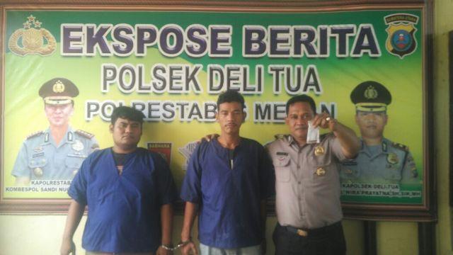 Nikmati Ganja, Tarigan dan Hasugian Ditangkap Personel Polsek Delitua di Jalan Jamin Ginting