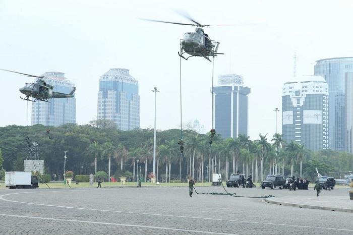 Panglima TNI Tinjau Simulasi Pengamanan Pelantikan Presiden RI di Monas