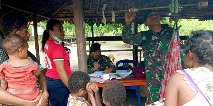 Satgas Yonif 411 Kostrad Gelar Posyandu dan Pengobatan Gratis di Perbatasan RI-PNG