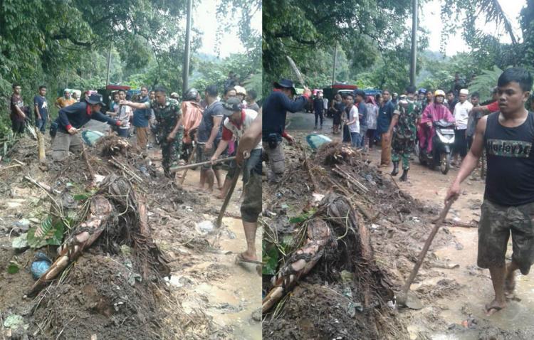 Personil Koramil 03/Sibilangit Bantu Korban Bencana Alam Tanah Longsor di Jalan Jamin Ginting