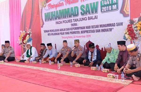 Polres Tanjungbalai Gelar Peringatan Maulid Nabi Muhammad SAW 1441 Hijriyah