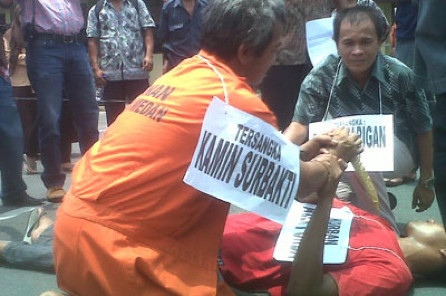 Polresta Medan Rekonstruksi Kasus Pembunuhan Alex Purba