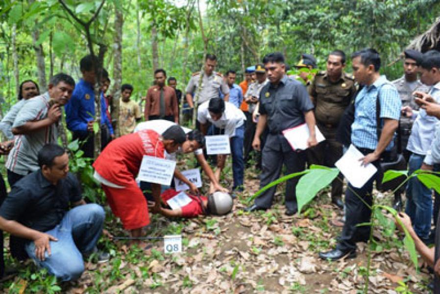Polres Madina Rekonstruksi Kasus Pembunuhan di Simangambat