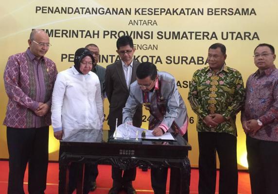 Pemprov Sumut dan Pemko Surabaya Teken MoU Pemanfaatan IT e-Government