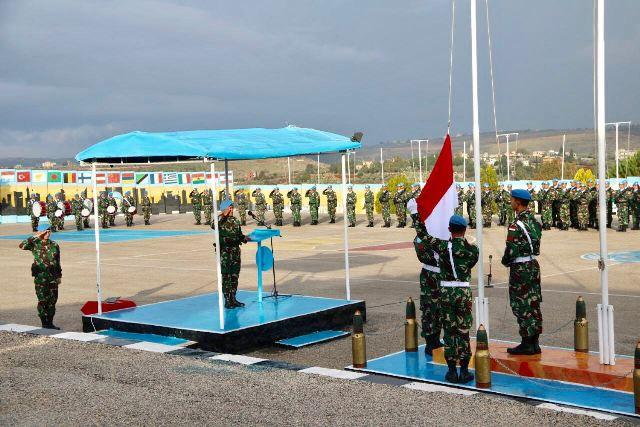 Pasukan Garuda XXIII-L/Unifil Gelar Upacara Bendera di Lebanon Selatan