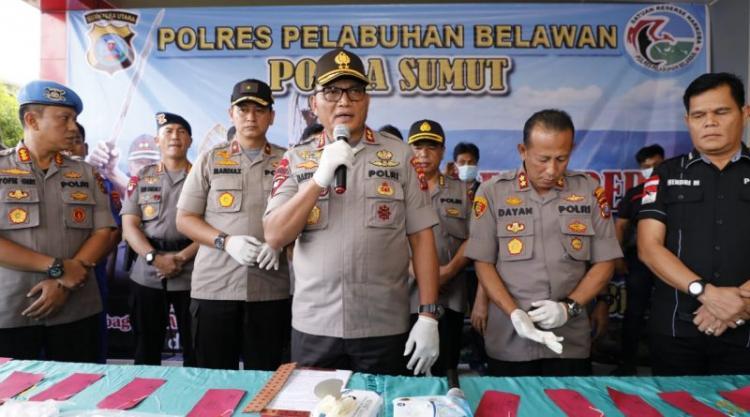 Kapolda Sumut Ungkap Kasus Narkotika Bersama Polsek Hamparan Perak, Polres Belawan