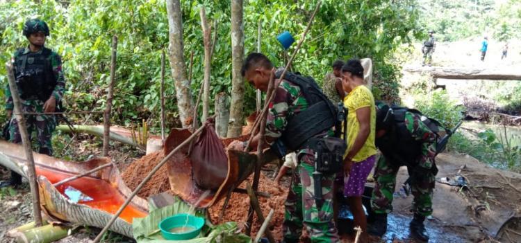 Satgas Yonif 755 Kostrad Dukung Ketahanan Pangan dengan Kearifan Lokal