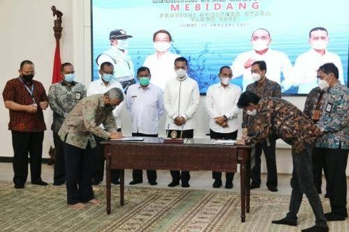 Kontrak Proyek Pembangunan SPAM Mebidang Diteken, Plt Wali Kota Medan Harapkan Mampu Penuhi Kebutuhan Air Bersih Bagi Masyarakat