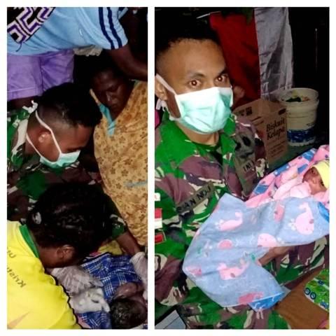 Prajurit TNI Bantu Proses Persalinan Warga Kampung Kibay, Satgas Yonif MR 413 Kostrad Bangga Jaga Perbatasan RI-PNG
