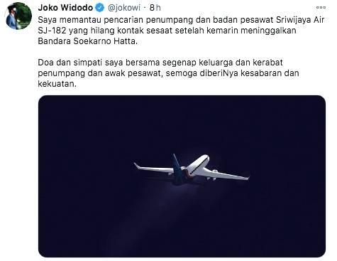 Presiden Jokowi Sampaikan Belasungkawa Atas Musibah Jatuhnya Pesawat Sriwijaya SJ182