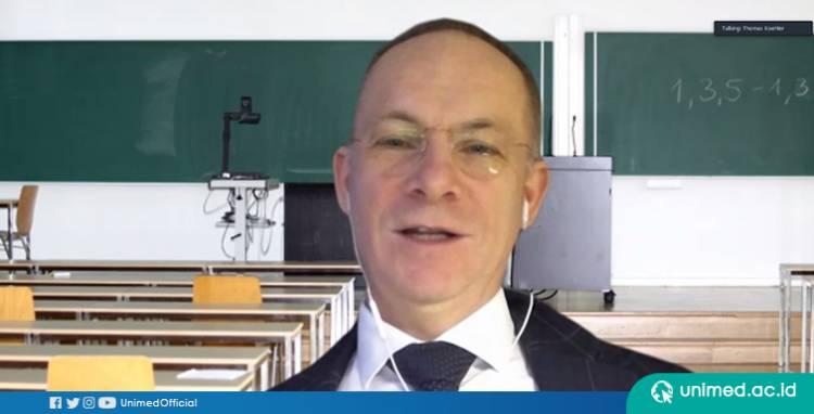 Prodi Pendidikan Bahasa Jerman Unimed Undang Prof Dr Thomas Koehler di Pembelajaran Daring