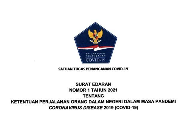 Satgas COVID-19 Terbitkan SE tentang Ketentuan Perjalanan dalam Negeri, Berlaku Mulai 9-25 Januari 2021