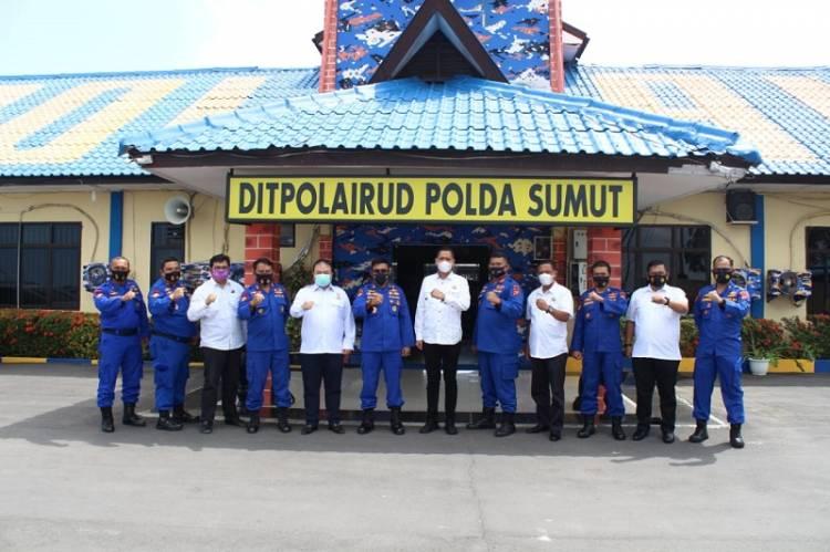 Pengurus Kadin Sumut dan Kadin Medan Silaturahmi ke Dit Polair Polda Sumut di Belawan