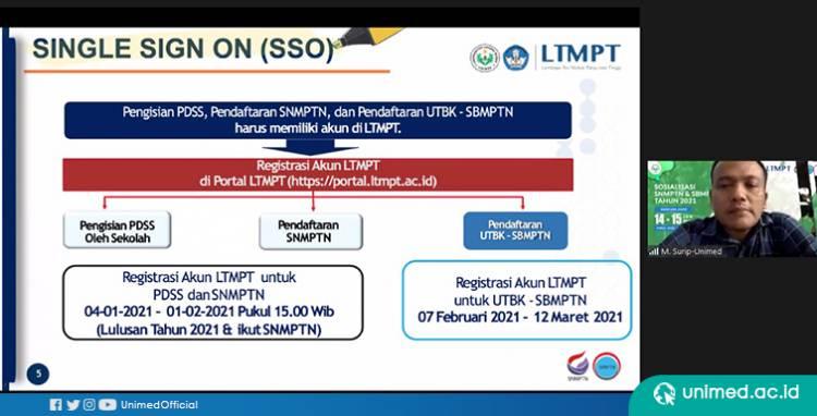 Sosialisasi SNMPTN dan UTB-SBMPTN 2021, Unimed Ingatkan Pihak Sekolah Segera Daftarkan Siswa