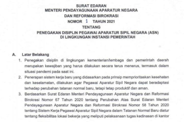 Menteri PANRB Terbitkan Edaran Mengenai Penegakan Disiplin ASN di Lingkungan Instansi Pemerintah