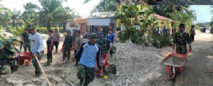 Kodim 0208/Asahan Laksanakan Pengecoran Jalan Desa Mekar Baru