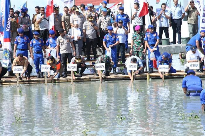 Sebanyak 20.000 Bibit Mangrove Ditanam Panglima TNI dan Kapolri di Wisata Bahari Ketapang