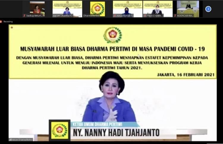 Ny Nanny Hadi Tjahjanto Buka Musyawarah Luar Biasa Dharma Pertiwi Tahun 2021