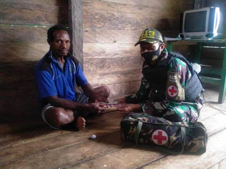 Satgas Yonif 413 Kostrad Wujudkan Masyarakat Perbatasan RI-PNG Sehat Menuju Sejahtera
