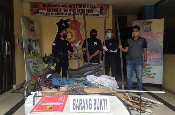 Pencuri Besi Pagar Rumah di Kawasan Helvetia Diringkus Tekab Polsek Medan Helvetia