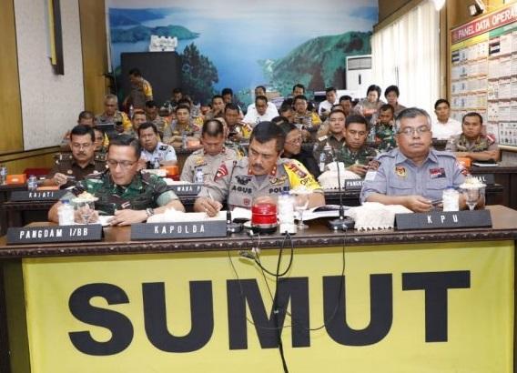 Pangdam I/BB, Kapolda Sumut dan KPU Sumut Gelar Vidcon Terkait Kesiapan Akhir Pengamanan Pemilu 2019