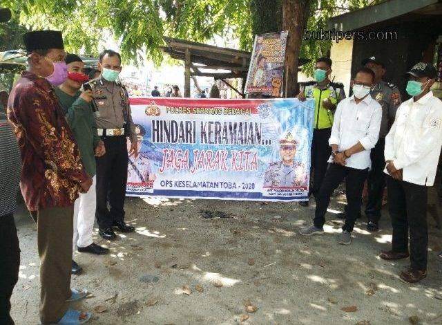 Satlantas Polres Sergai Sosialisasi Cegah Corona untuk Warga Tanjung Beringin
