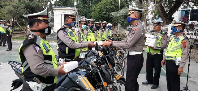 Operasi Keselamatan Toba 2020, Satlantas Polrestabes Medan Cegah Penyebaran Virus Corona