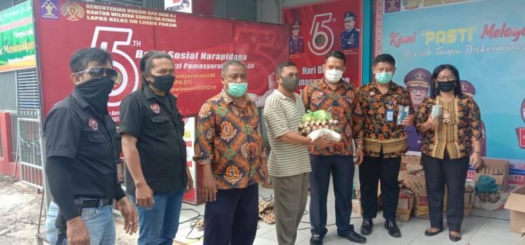Lapas Lubuk Pakam Bagikan 178 Sembako, 200 Handsanitizer dan Masker
