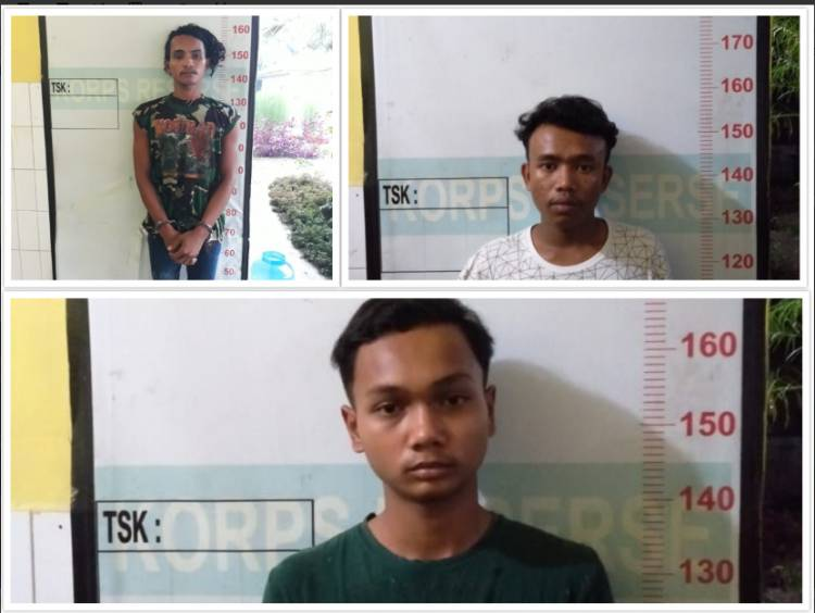 Polsek Kutalimbaru Tangkap Tiga Pria Komplotan Bongkar Rumah di Desa Sukamaju