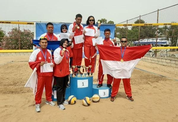 Satgas Indobatt XXIII-M Sapu Bersih Seluruh Medali Emas Unifil Bola Voli Pantai