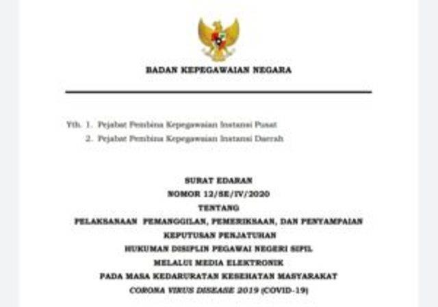 BKN Terbitkan Pedoman Pelaksanaan Proses Penjatuhan Hukuman Disiplin PNS Secara 'Online' di Masa Covid-19