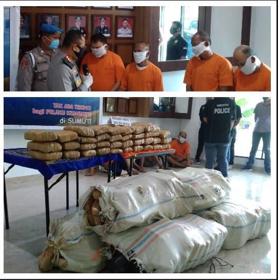 240 Kilogram Daun Ganja Kering Asal Aceh Diamankan Polrestabes Medan, Empat Pengedar Ditangkap di Gatsu