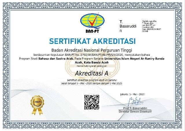Prodi Bahasa dan Sastra Arab UIN Ar-Raniry Aceh Kembali Raih Akreditasi A