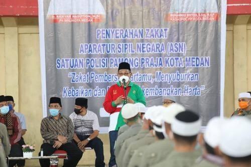 150 PHL Satpol PP Terima Zakat, Plt Wali Kota Medan Apresiasi Solidaritas