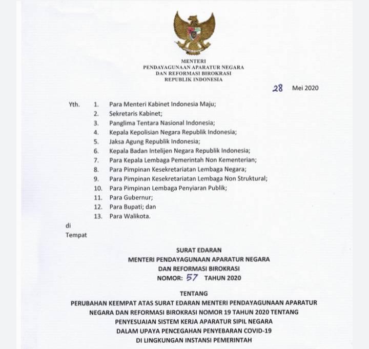 Menteri PANRB Tetapkan WFH untuk ASN Diperpanjang Sampai 4 Juni 2020