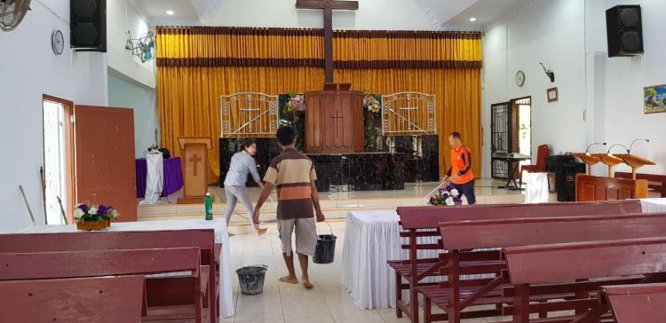 Polsek Kutalimbaru Laksanakan Minggu Berkat di Gereja GBKP Runggun Suka Rende