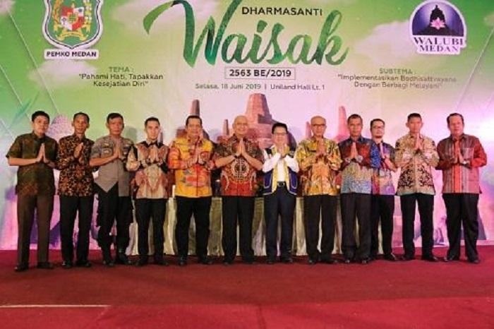 Hari Dharmasanti Waisak, Walikota Medan Ajak Umat Beragama Menjaga Kerukunan Hidup di Kota Medan