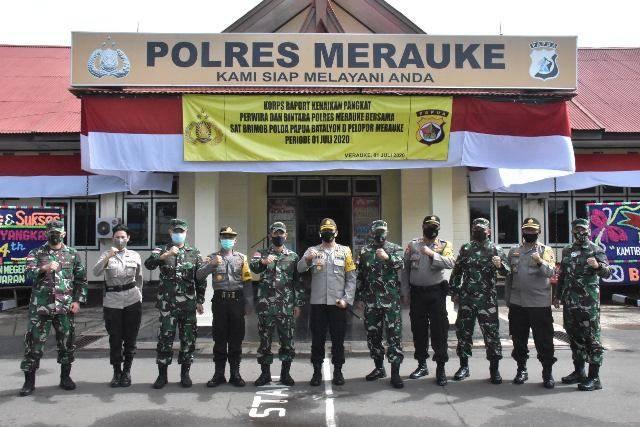 Kasrem Bersama Para Kasi Korem 174/ATW Kunjungi Markas Polres Merauke