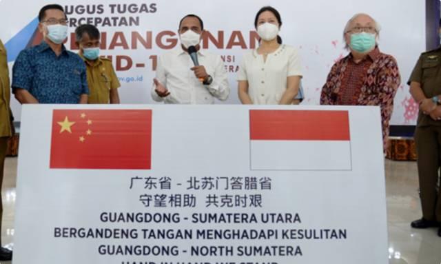 Tiongkok dan DJBC Hibahkan Puluhan Ribu Masker untuk GTPP Covid-19 Sumut